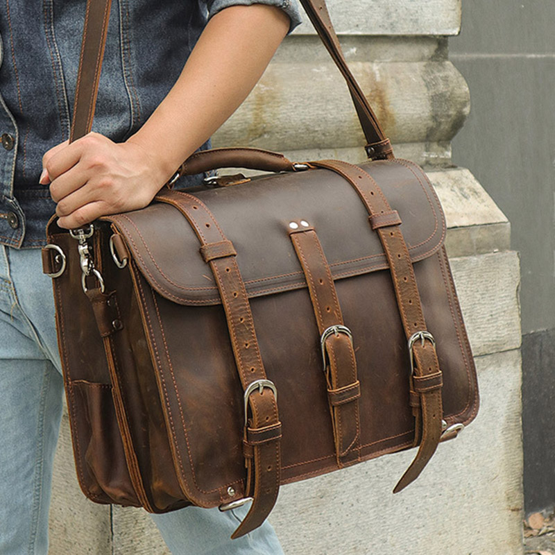 Men's Thick Crazy Horse Leather Briefcase 3 Use Genuine Leather Rucksack Big Capacity Travel Daypack Cow Leather Shoulder Bag