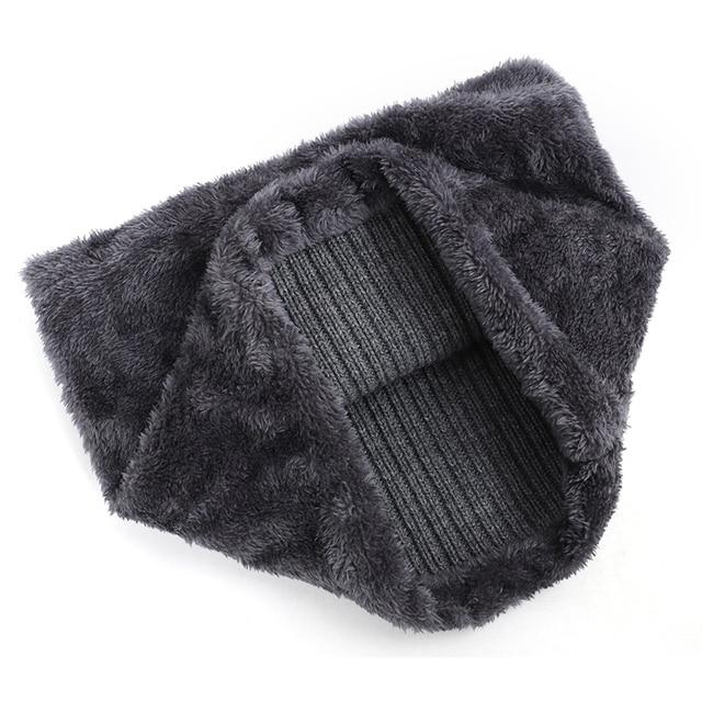 2019 New High Quality Winter Knit Beanie Scarf 2 Pieces Set Thick Lining Plus Velvet Men's Visor Hat Warm Dad Cap Soft Balaclava 6