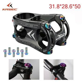 KRSEC Aluminium Stem MTB Mountain Bike Stem potence velo Titanium Bolts Colors Short HandleBar Stem for 28.6mm Bicycle Fork