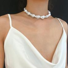 Kpop Single Layer Retro Baroque Irregular Pearl choker Necklace for woman Aesthetic jewelry exaggeration large Necklace цена 2017