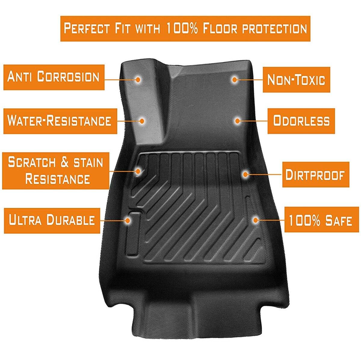 Audew 3 pièces TPO avant et arrière noir tapis de sol de voiture personnalisé ajustement tous temps tapis de sol couverture pour Tesla modèle 3 imperméable à l'eau Durable - 2