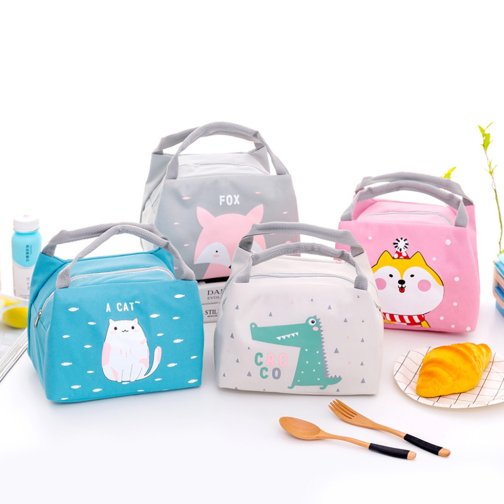 Fashion Cartoon Cute Lunch Bag For Women Girl Kids Children Thermal Insulated Lunch Box Tote Food Picnic Bag Milk Bottle Pouch