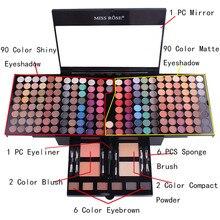цена на Miss Rose Professional Makeup 180 Colors Matte Shimmer Palette Powder Blush Eyeshadow tray Contouring Beauty Makeup Kit Box