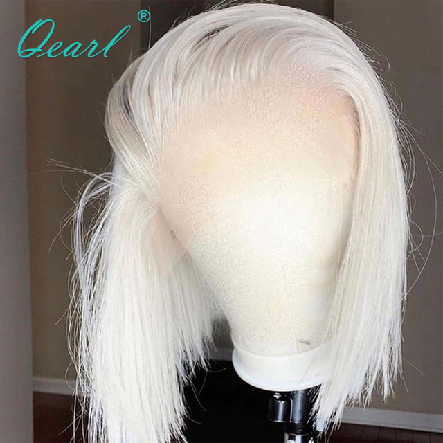 Short Bob Straight Human Hair Wig White Blonde Lace Frontal Wig for Women Pink Red Grey Colored Virgin Hair 13x1 150% Lace Front 1