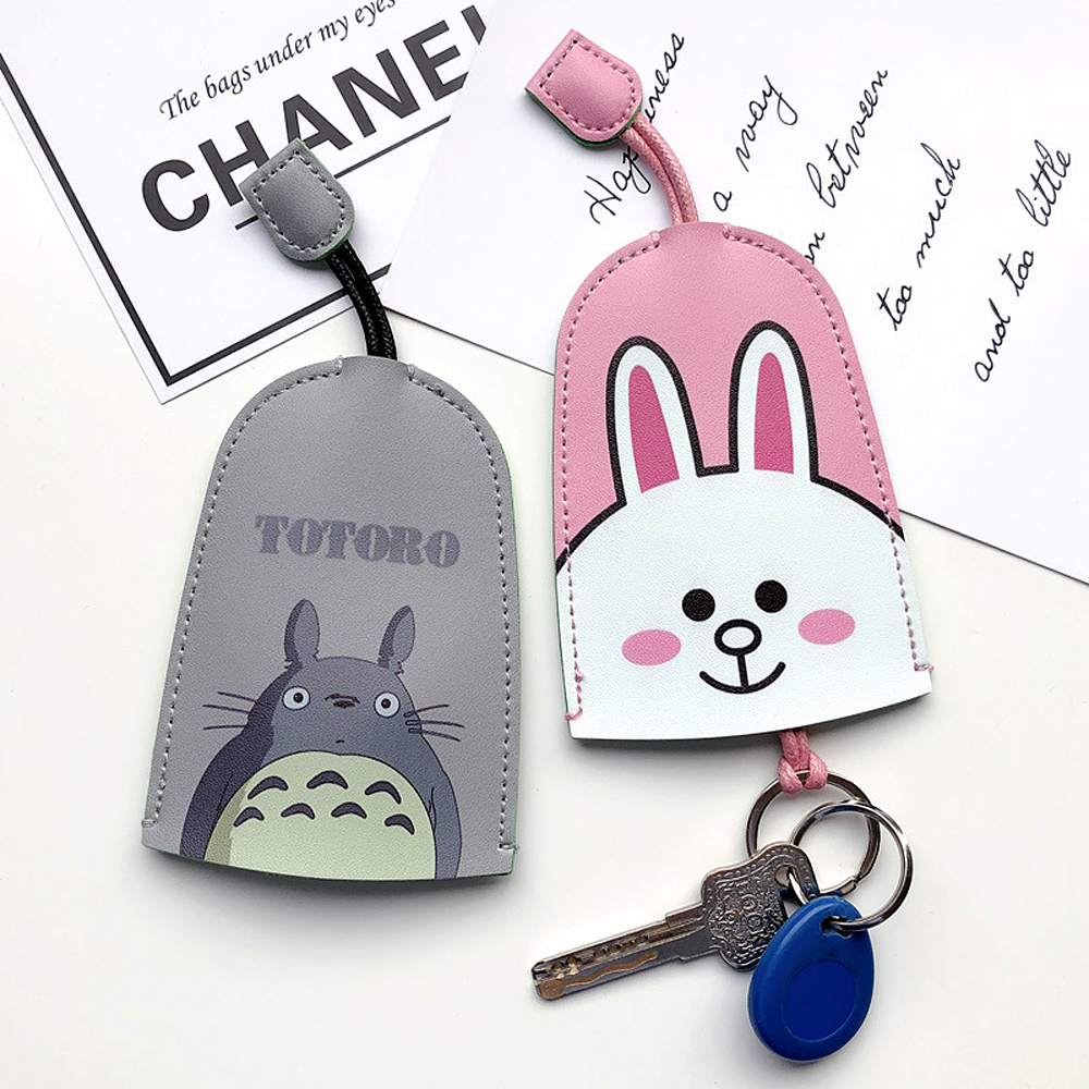 Creative Cartoon Leather Key Wallets Lovely Key Chains Cover Soft Leather Pull Type Car Key Bag Women Key Ring Holder Case