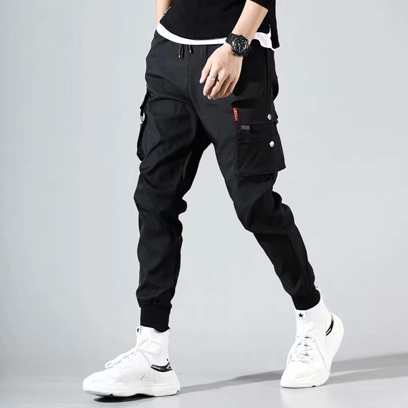 Black And White With Pattern Bib Overall Men Korean-style Slim Fit Teenager Skinny Harem Pants Fashion MEN'S Sweat Pants MEN'S T