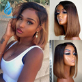 150% плотность Ombre коричневый 13*6 кружева фронта человеческие волосы парики бразильский Реми человеческие волосы короткий парик с волосами ре...