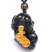 Genuine Black Obsidian Pendant Necklace Jewelry 18K Gold 34x23x13mm Pi Xiu Carved For Women Man Crystal Beads Chains AAAAA
