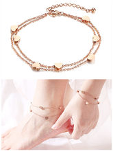 rose gold plated anklet bracelets for women stainless steel small heart design jewelry accessory gift for girl(China)