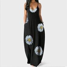 Pullover Maxi-Dresses Sunflower-Print-Strap Plus-Size Summer Vestidos Women Sleeveless