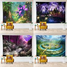 цена на Natural Scenery Tapestry Wall Hanging Home Decoration Garden Forest Castle Wall Tapestry Yoga Mat Dorm Bedroom Art Carpet