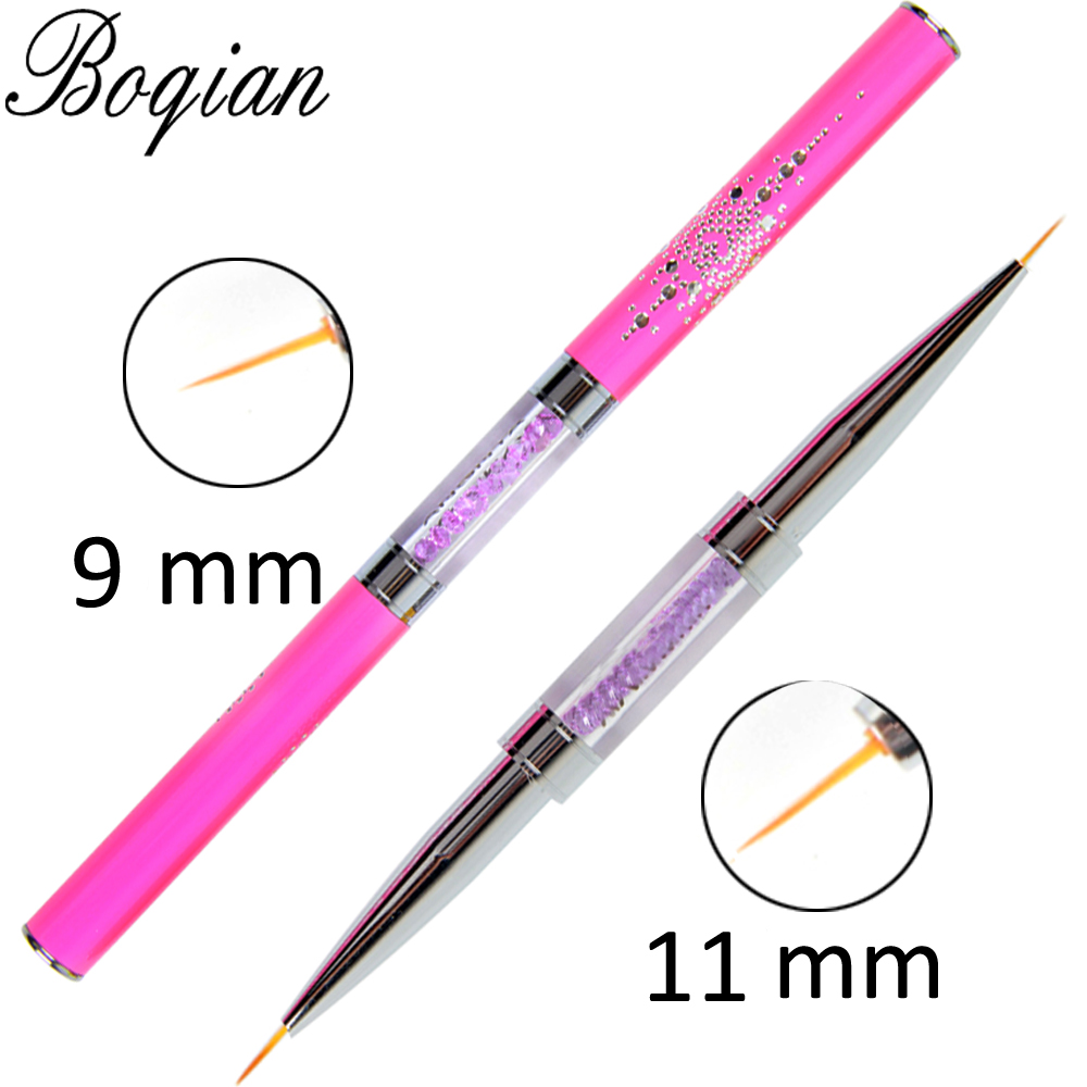 BQAN Double Head 5/7/6/9/11mm Liner Nail Brush Flower Drawing Paint Crystal Handle Nail Art Manicure Tool Nail Art