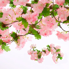 18 Heads 220m long Artificial Cherry Blossoms Flower Fake String Vine Artificials Garland Flowers Wedding Party Home Decoration