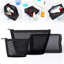 3 Pcs/set Mesh Storage Makeup Bags Black Package Organizer T