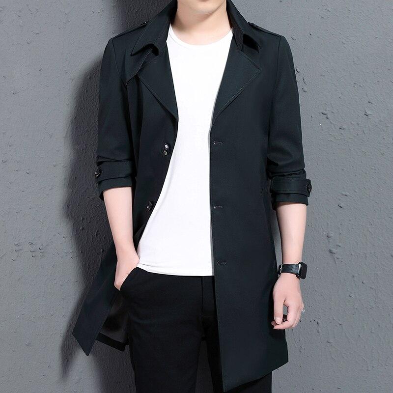 Мужской Тренч, мужское длинное пальто, повседневное, весна осень, длинное тонкое пальто, ветровка, куртки для мужчин, зимний Тренч, пальто дл... - 2