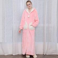 Inverno grosso extra longo zíper pijamas robe moda feminina estrela lua quente com capuz roupão solto dama de honra roupão