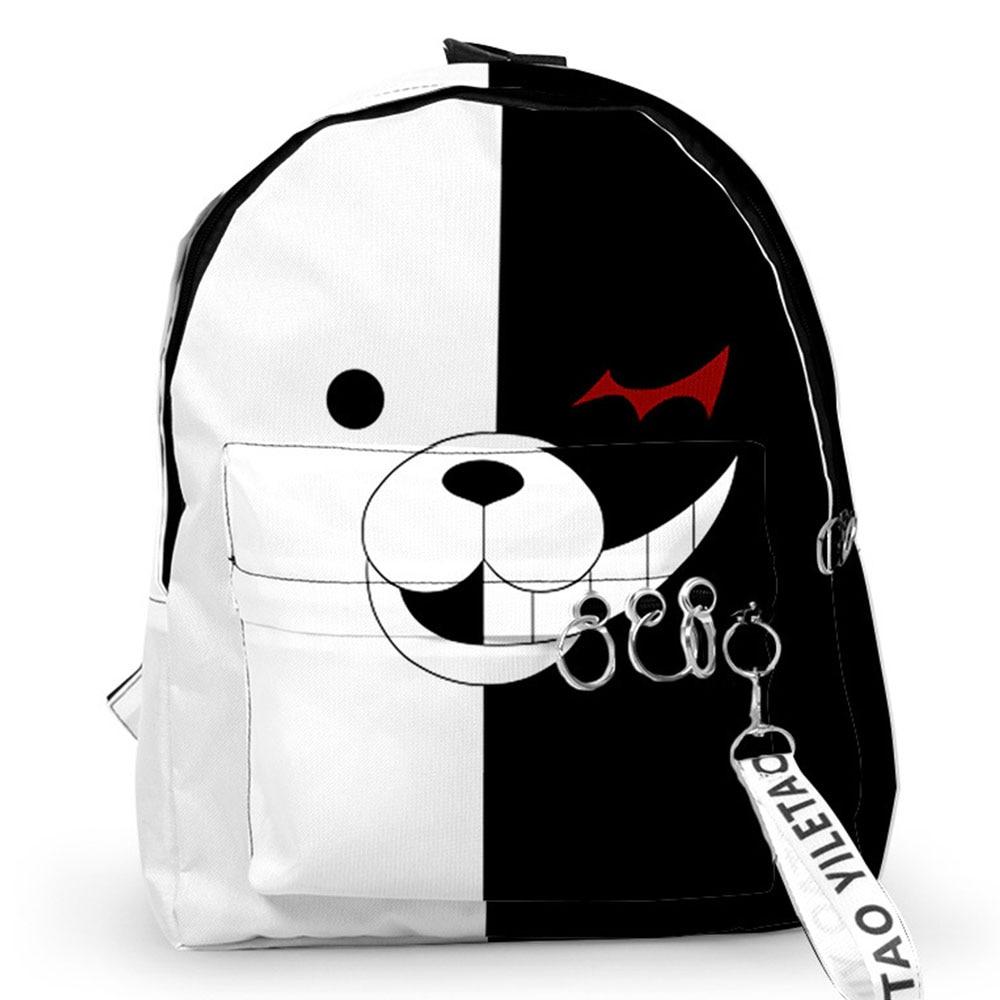 Dangan Ronpa Women Men Backpacks Cartoon Monokuma For Teenager Girl Boy School Bags Large Capacity Travel Knapsack