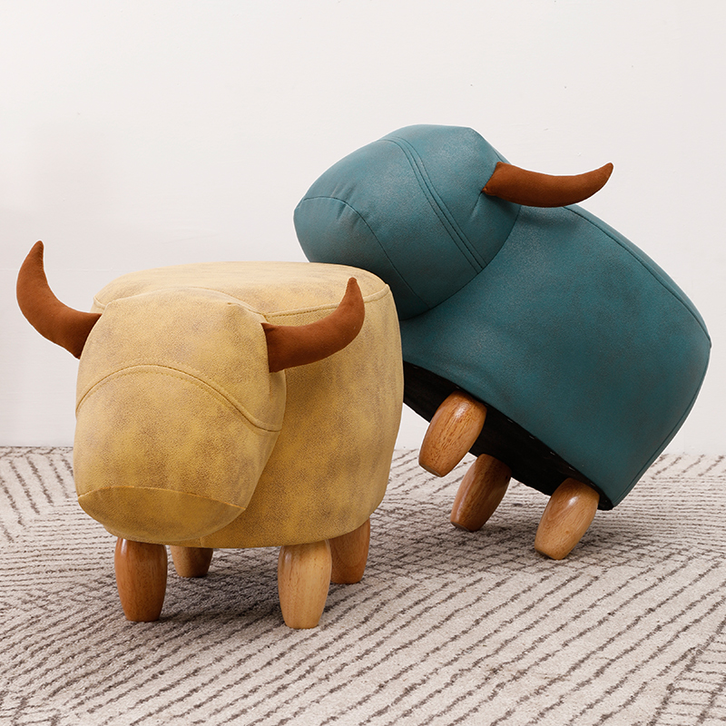 Fashion Creative Calf Animal Shoe Stand, Solid Wood Sofa Stand, Household Foot Stand, Low Stool, Small Wood Stand