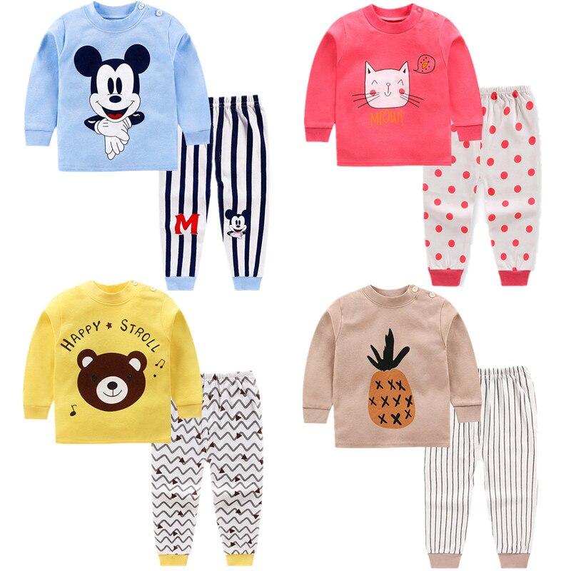 Children Spring Clothes Girls Tops+long Pants Suits Autumn Cotton Boys Sleepwear Sets Baby Boys Animals Underwear Pyjamas Kids