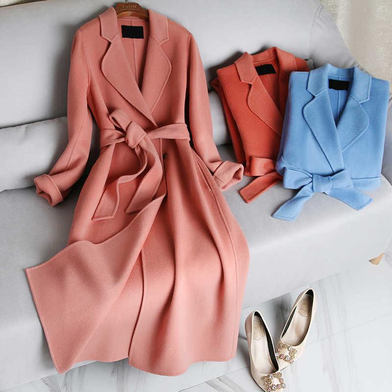 2019 neue Echt 90% Woolen Mantel Frauen Elegante Doppel Woolen Mit Gürtel Langen Mantel Winter Lose Feminine Mantel