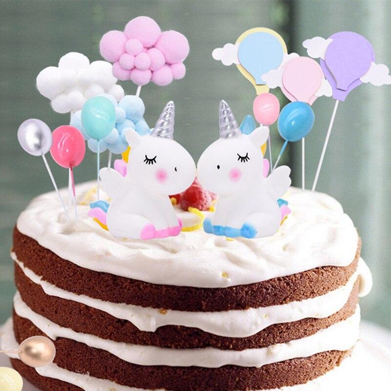 Mini Unicorn Cake Decora Pompom Cloud Rainbow Bead Cute Cupcake Topper For Wedding Birthday Party Adornment Kids Favors Supplies