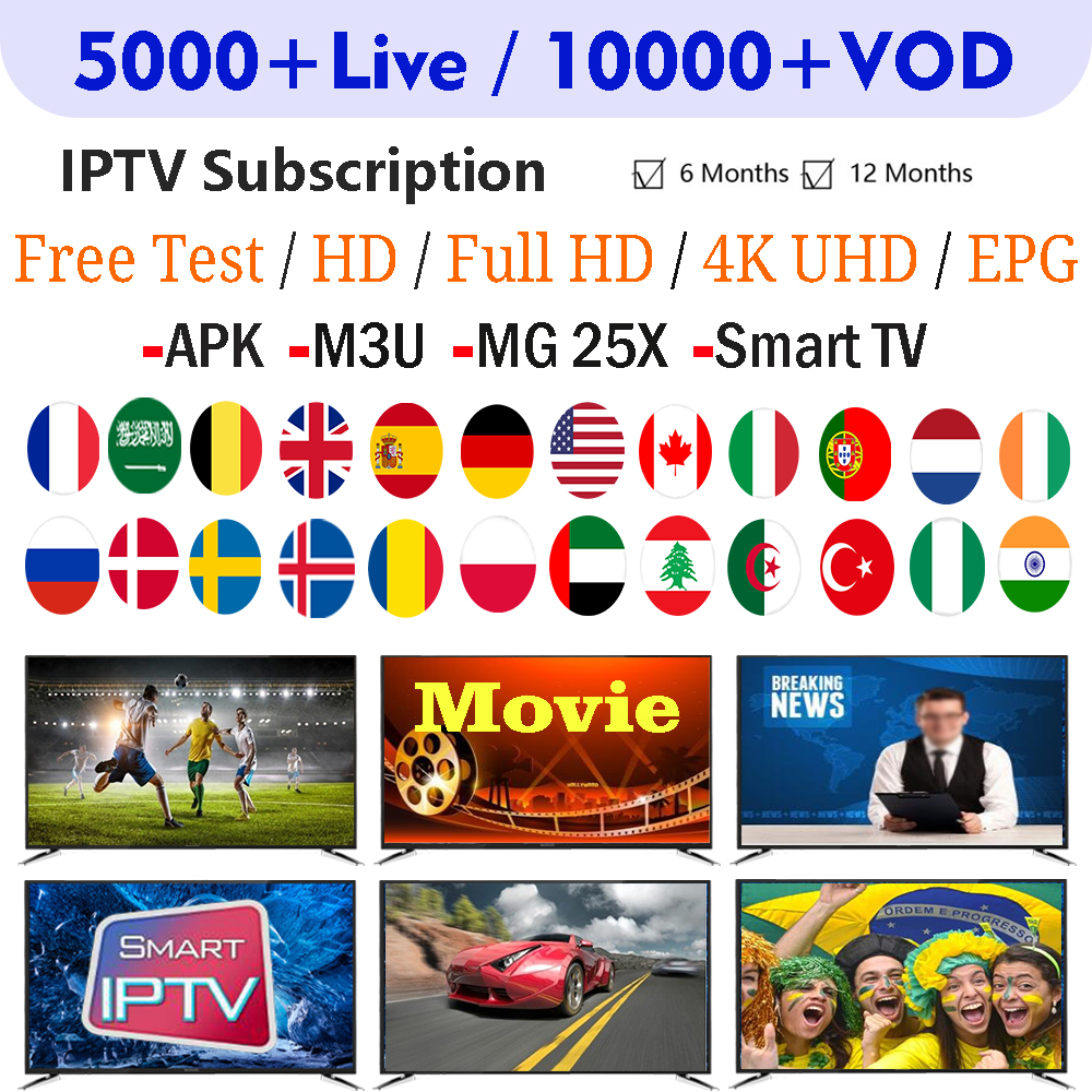 Iview IPTV Subscription For 12 Months 6 Months IPTV French Arabic UK Dutch Spain 5000+ Live 10000+ VOD 4K HD IPTV M3U