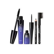 Pro 3 Pieces Waterproof Eyelash Long Curl Mascara Cosmetic Liquid Eyeliner Eyebrow Pencil Makeup Set Black(China)