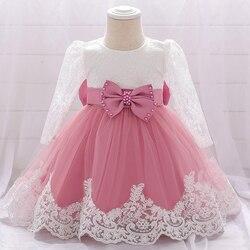 Осень 2020, одежда для девочек, детское кружевное платье-пачка с длинным рукавом, платье для маленьких девочек с бантом, платье на день рождени...
