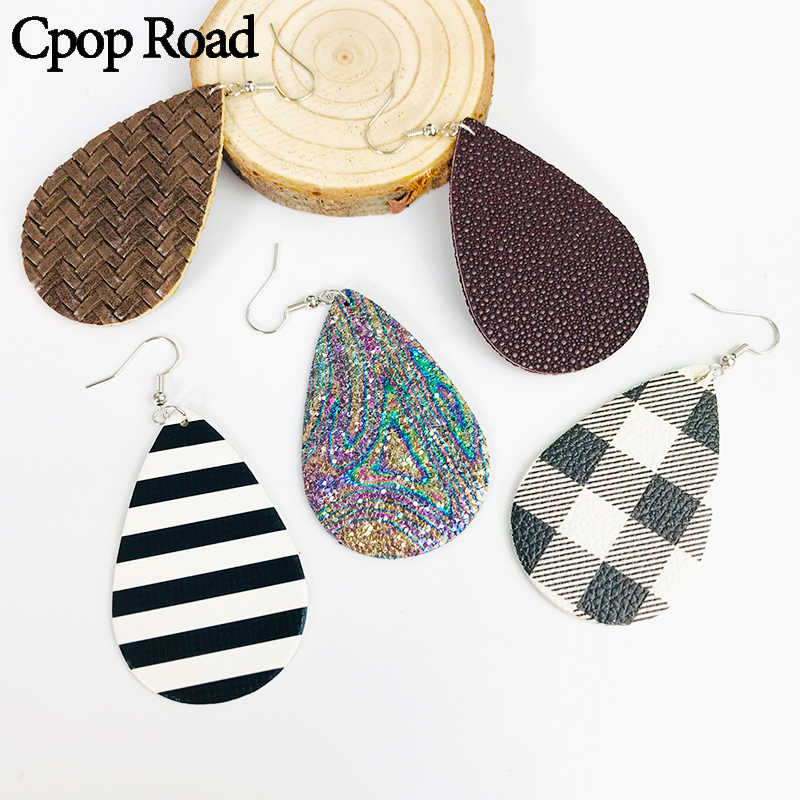 Cpop Vintage Glitter PU Leather Earrings Zebra Lattice Shiny Fashion Water Drop Earrings Women Jewelry Gift for Friend Hot Sale