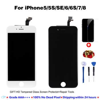 LCD Display For iPhone5 5S SE 6 7 8 6S Plus 3D Touch Screen Replacement No Dead Pixel AAA+++ +Tempered Glass+Tool+TPU case