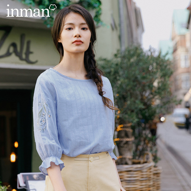 INMAN 2020 Spring New Arrival Literary Embroidered Pure Cotton Round Collar Petals Sleeve Temperament Leisure Blouse