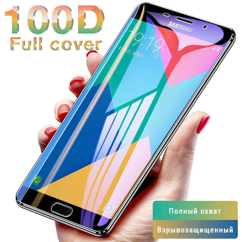 Curved Protective Glass on the For Samsung Galaxy A7 A3 A5 A6 A750 A8 2017 2018 J3 J5 J7 2016 Tempered Screen Protector Glass-in Phone Screen Protectors from Cellphones & Telecommunications