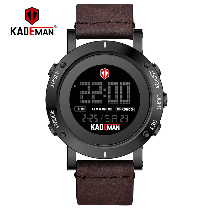 KADEMAN Original Military Men's Sports Watches 3ATM Digital TOP Luxury Brand Casual Leather Wristwatch Relogio Masculino K010