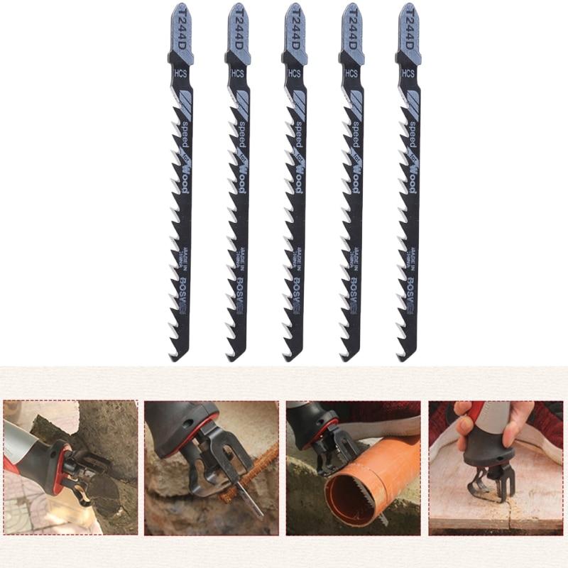 T244D HCS T-Shank Curved Jigsaw Blades Cutting Tool For Wood Fast Cutting 5PCS/SET#1