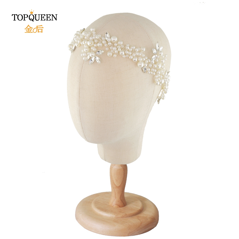TOPQUEEN HP186 Wedding Headpieces For Bride Pearl Bridal Headdresses For Girlfriend Rhinestone Hair Ornament Wedding Tiara