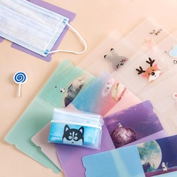 5Pcs Cute Animals Starry Sky Portable PVC Mask Clips Disposable Face Mask Storage Case Container Foldable Recycling Mask Holder
