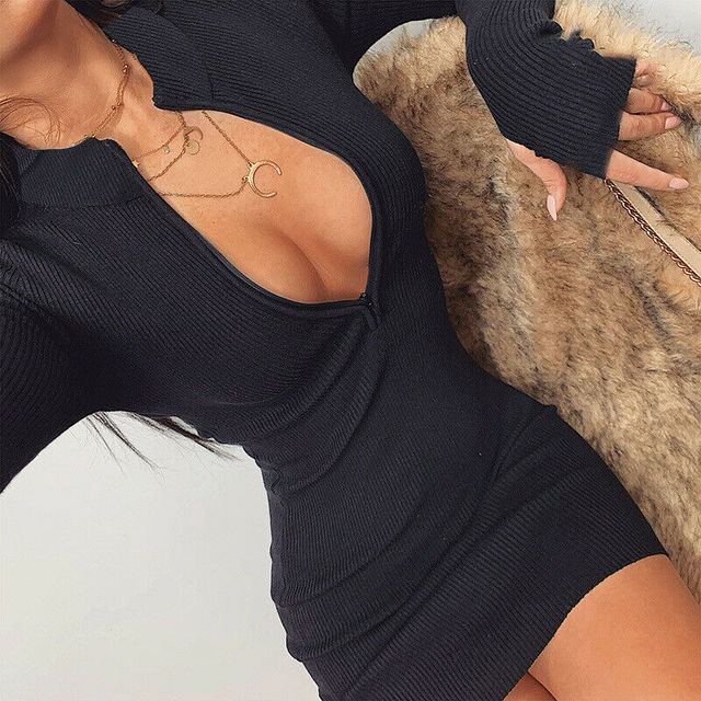 Fashion Women Spring Zip Up Sweater Dress Ladies Bodycon Long Sleeve Knitted Sweaters Slim Mini Dresses 2020 Warm Casual Clothes 2