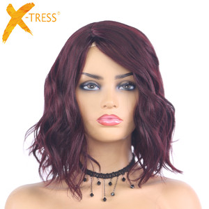 99J Red Colored Natural Wave Short Bob Synthetic Wigs X-TRESS 12Inches Length Heat Resistant Machine Made Wig For Black Women