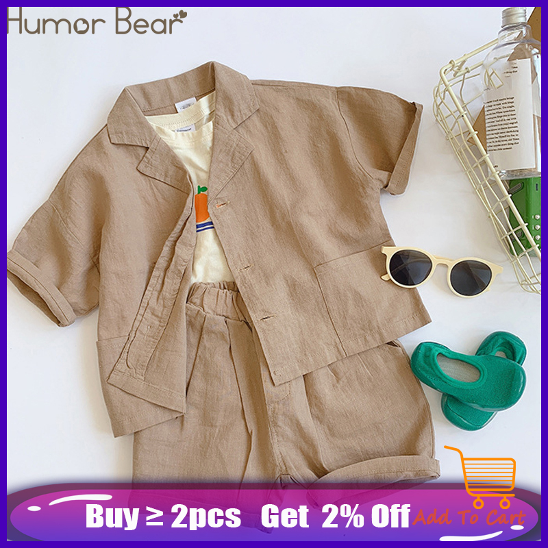 Humor Bear 2019 Japanese Korean Style Boys Cotton Linen Clothing Sets Kids All-Match Single-Breasted Shirt+Shorts 2Pcs Suits