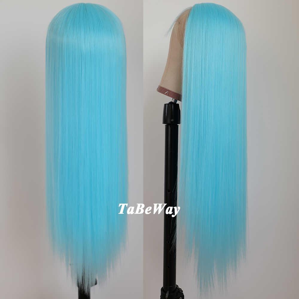 Tabeway Lurus Panjang Renda Depan Wig Warna Biru Wig Tahan Panas Serat Rambut Sintetis Renda Depan Wig untuk Fashion Wanita