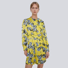 ZA 2019 New Yellow Printed Bow Dress Fashion in Winter Autumn Women Clothes Long Sleeve Boho Gift Party Vacation Wholesale