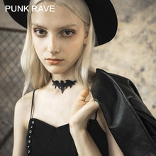 PUNK RAVE Girl's Gothic Dark Faux Leather Bat-Like Choker Harajuku Necklaces Women Accessories(China)