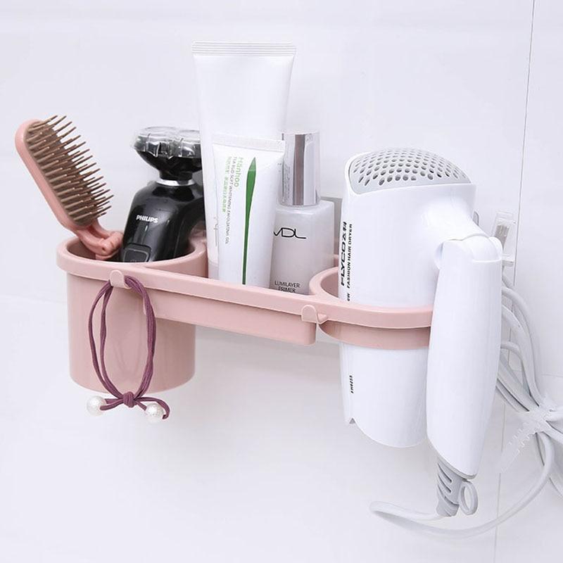 YiCleaner Hairdryer Rack Bathroom Organizer Storage Shelves Suction Wall Shelf Storage Stand Toilet Box