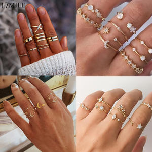 Crystal-Rings-Set Knuckle Finger-Ring Star-Moon Vintage Women Jewelry Party Gold Trendy