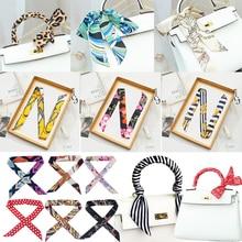 2020 Fashion Skinny Scarf for Women Long Silk Bag Scarves Hair Band Foulard Lady Neck Tie Design Print Small Ribbon Headband