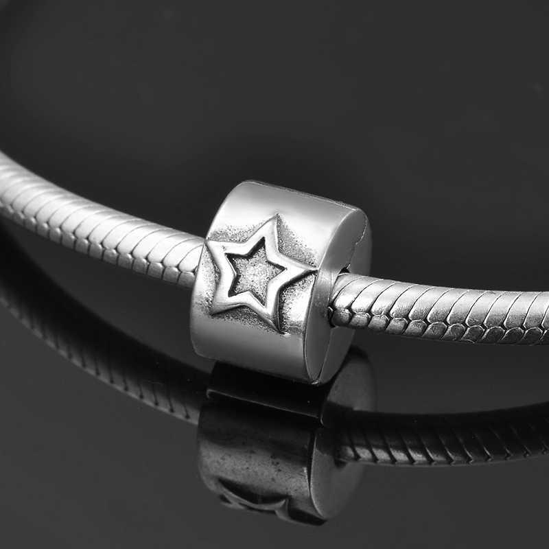 Tròn thời trang Nữ Bạc 925 duyên dáng ngôi sao Năm cánh kẹp Khóa hạt Phù Hợp Với Ban Đầu Pandora Vòng Tay Trang Sức làm