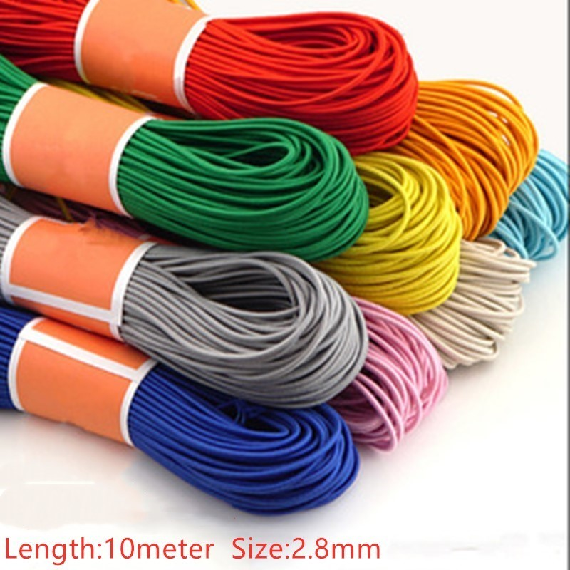 2.8mm 10meters Colorful High-Elastic Round Elastic Band Round Elastic Rope Rubber Band Elastic Line Sewing Jewelry Accessories