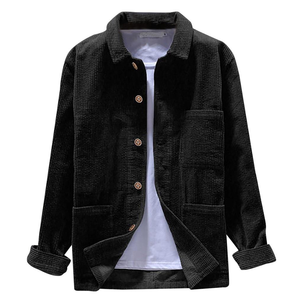 Men Hawaiian Shirt Casual Long Sleeve Solid Top Corduroy Casual Blouse Plus Size Camisa Masculina Camisas Hombre3XL Streetwear