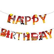 Theme-Happy-Birthday-Banner Firefighter Birthday-Party-Decorations Fireman Fire-Engine-Garland