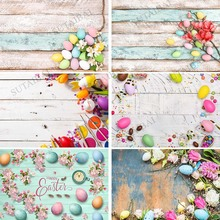 Backdrop for Photography Easter Holiday Bunny Meadow Party Eggs Flowers Spring Wooden